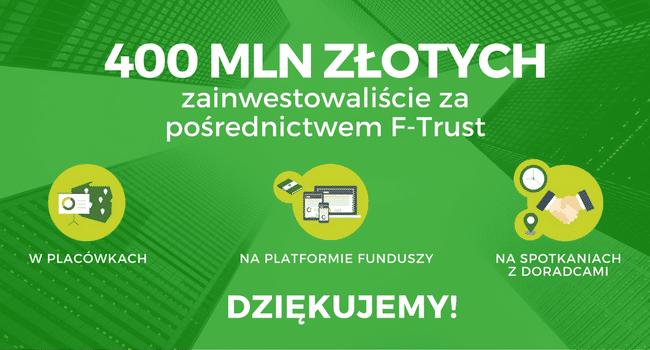 Klienci F-Trust zainwestowali już 400 milionów złotych za naszym pośrednictwem. Dziękujemy!